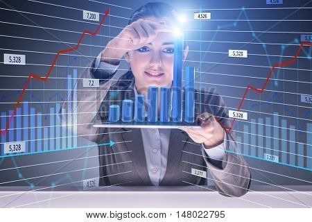 Businesswoman in stock trading concept