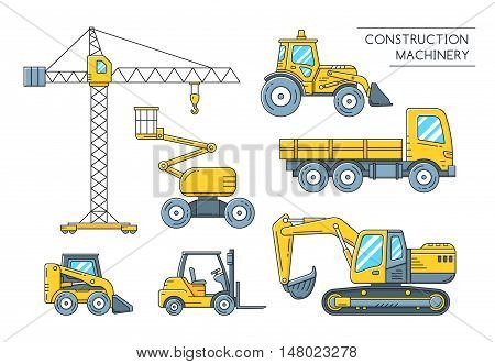 Heavy construction transport outline icons. Construction machinery flat line art collection. Vector illustration