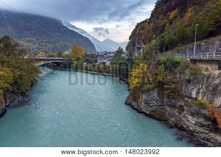 Amazing Autumn Landscape of Rhone River, canton of Vaud, Switzerland