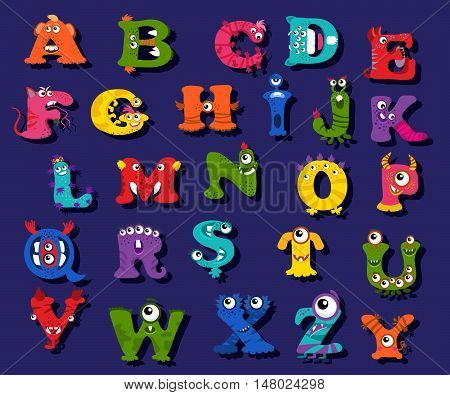 Halloween funny alphabet for children vector. Alphabet with character monsters and illustration alphabet for education kid