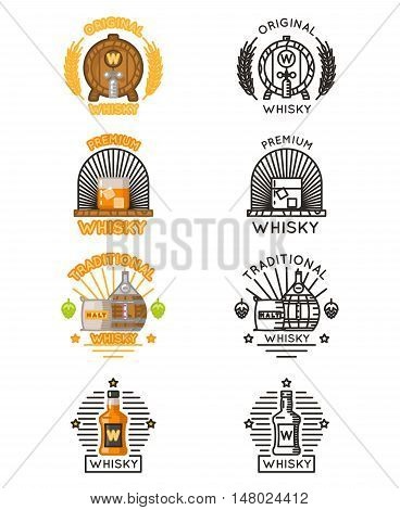 Whisky logo set. Vector whiskey alcohol drinks logotypes for distilleries and whiskey bars illustration