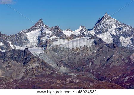 Panorama to Swiss Alps from matterhorn glacier paradise to Alps, Switzerland