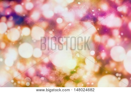 Festive background with natural and bright lights. Vintage Magic background with colorful . Spring Summer Christmas New Year disco party background.