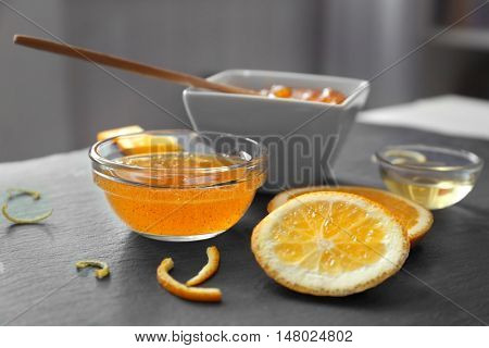 Natural scrub ingredients on gray table