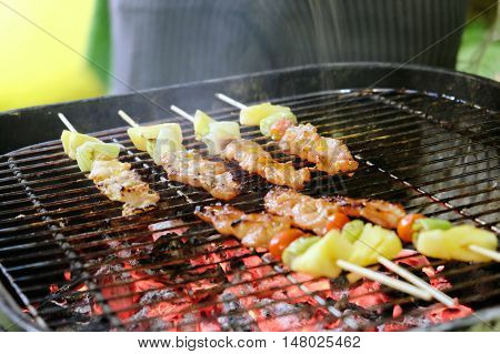 close up image of Grilled skewer on fire