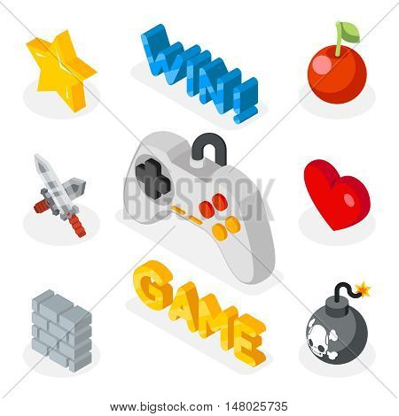 Isometric game icons. 3D flat icons with games symbols. Bomb heart and sword for game. Vector illustration