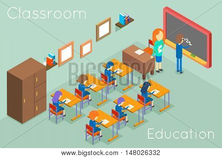 School classroom education isometric concept vector. Classroom interior for lesson, illustration classroom with teacher and students