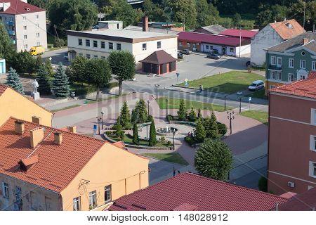 Central square of Pravdinsk (Friedland). Kaliningrad region. Russia.