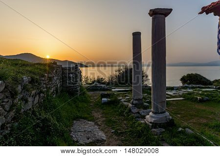 Amazing sunset on Evraiokastro Archaeological Site, Thassos town, East Macedonia and Thrace, Greece