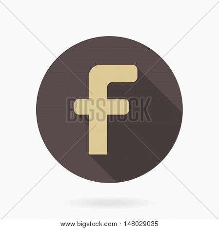 Golden vector letter F in the brown circle. Flat design and long shadow