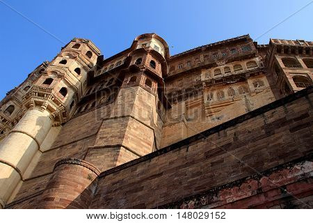 Portion of mighty Meharongarh Fort in Jodhpur viewed from bottom Rajasthan India Asia