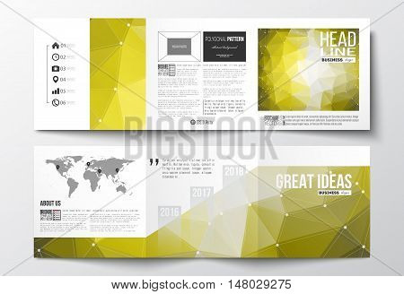 Vector set of tri-fold brochures, square design templates with element of world map. Molecular construction with connected lines and dots, scientific pattern on abstract yellow polygonal background, modern stylish triangle vector texture.
