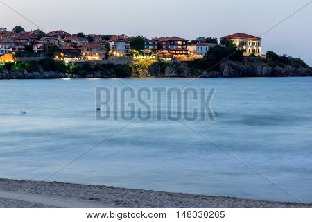 Night photo of old town and beach of of Sozopol town, Burgas Region, Bulgaria