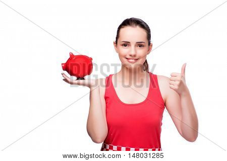 Woman with piggy bank isolated on white