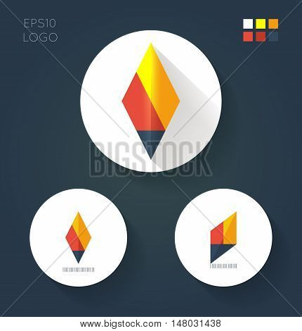 Flat style logo variantes for minimalistic fire torch in white circles. Basic elements with color palette of corporate identity. Vector illustration.
