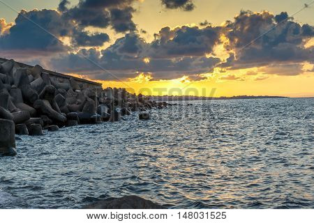 Sunset picture of breakwater of Sozopol Town, Burgas Region, Bulgaria