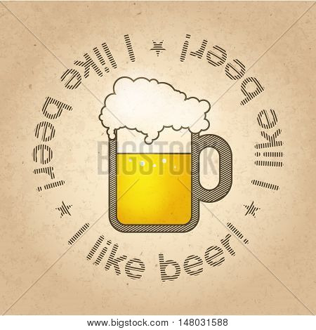 Pint of Beer concept image on craft carton background. Vector illustration.