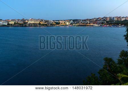 Twinlight view of beach and new part of Sozopol, Burgas Region, Bulgaria