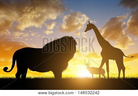Silhouette of a Lion with Giraffes and Antelope at sunset