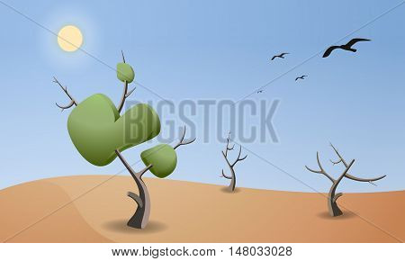 Cartoon landscape of desert for game design. Horizontal nature background at noon. Dry trees with leaves and branches. Sun and birds on the sky