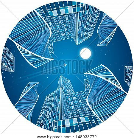 Business building, night city, urban scene, infrastructure illustration, modern architecture, skyscrapers and towers, airplane flying, round composition, vector design art