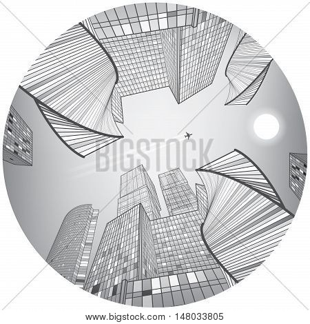 Business building, silver city, urban scene, infrastructure illustration, modern architecture, skyscrapers and towers, airplane flying, round composition, vector design art