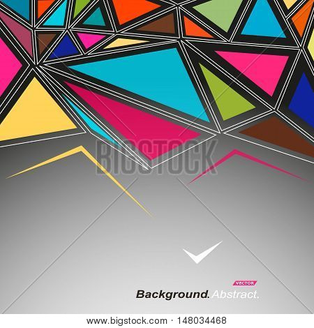 Abstract composition. Minimalistic fashion backdrop design. Patch mosaic icon. Vitrage inlay font texture. Modern ad banner. Triangles connection fiber. Bright puzzle parts ornament. Stock vector