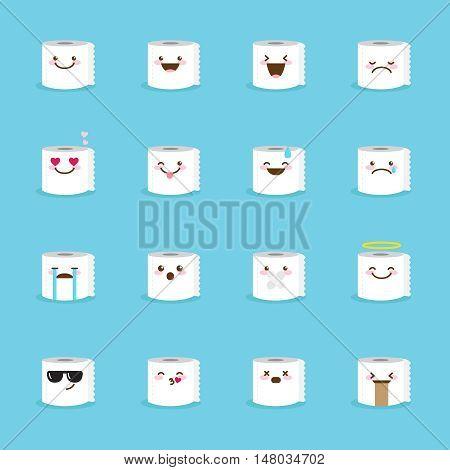 Vector toilet paper emoji set. Funny cartoon emoticons.