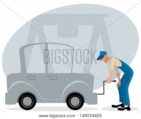 Vector illustration of a mechanic and car
