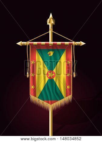Flag Of Grenada. Festive Banner Vertical Flag With Flagpole
