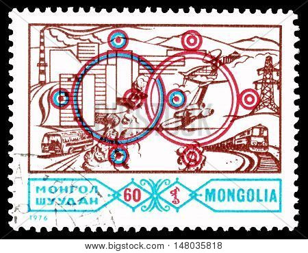 MONGOLIA - CIRCA 1976 : Cancelled postage stamp printed by Mongolia, that shows Interlocking Circles Industry and transport.