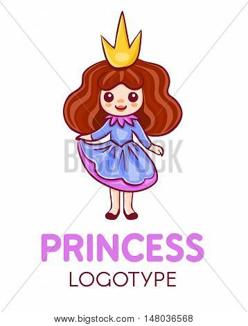 Cartoon little princess wearing blue and pink dress and a crown logo isolated on white background.Fantasy fairytale girl character logotype for kid-focused business:child fashionaccessorycosmetics