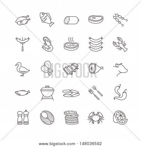 meat and fish vector icons for your design