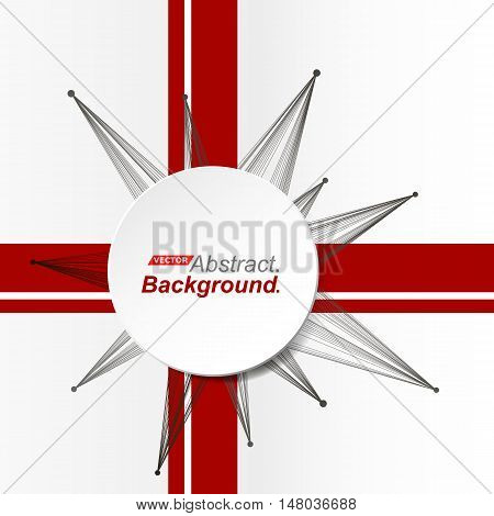 Abstract composition. Minimalistic fashion backdrop design. Circle explosion icon. Brand logo. Red band font texture. Modern ad banner. Triangles connection fiber. Round text frame. Stock vector