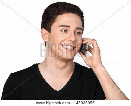 Portrait of a Young Man Talking on the Phone
