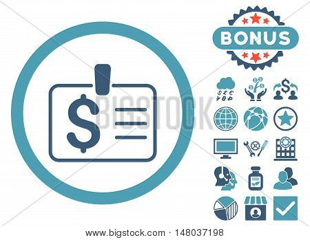 Dollar Badge icon with bonus pictogram. Vector illustration style is flat iconic bicolor symbols, cyan and blue colors, white background.