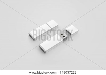 Blank white usb drive design mockup 3d rendering opened and closed clipping path. Clear plastic flash disk template. Plain memory device mock up. Clean pen drive branding presentation. Micro card.