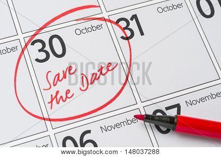 Save The Date Written On A Calendar - October 30