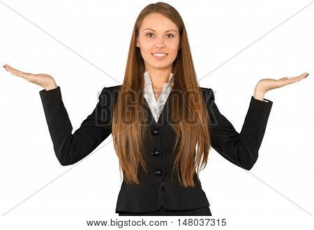 Young Businesswoman Standing with Open Arms and Holding Invisible Object - Isolated