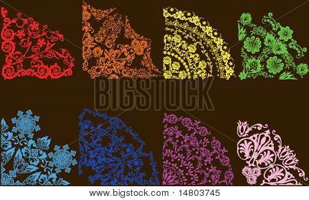 different color floral quadrants isolated on brown background