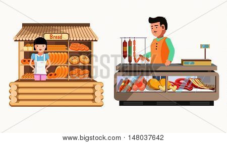 Set of sellers at the counter and stall. Collection vector shops in flat style. Kiosk with bread, meat products. Grocery stores illustration