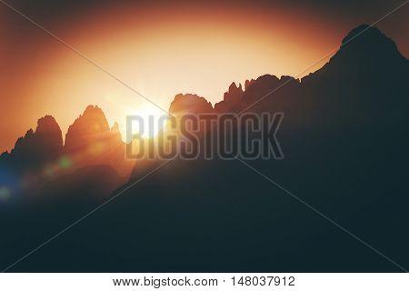 Scenic Alpine Sunset. Scenic Sunset in Italian Dolomites. Auronzo Di Cadore Province of Belluno Italy Europe.