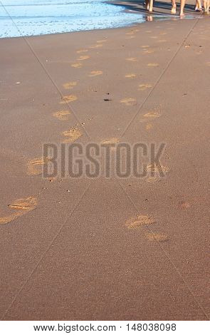Footprints of people on the beach. Legs of people in the background