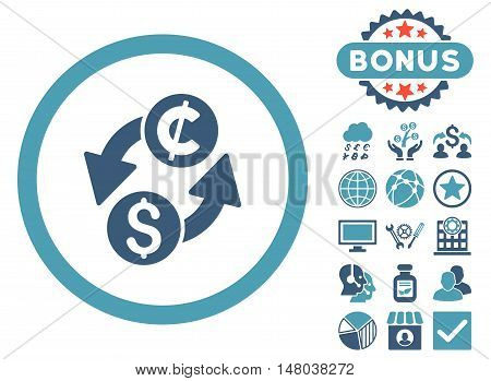 Dollar Cent Exchange icon with bonus symbols. Vector illustration style is flat iconic bicolor symbols, cyan and blue colors, white background.
