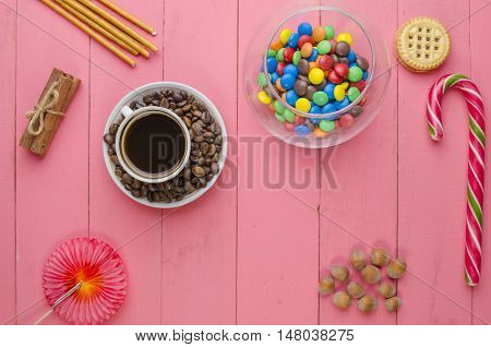 Bright Candies On A Pink Background