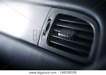 Car Air Condition Vent Closeup Photo. Car Interior Vent Details.
