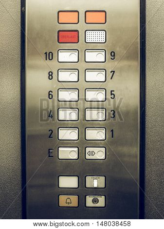 Vintage Looking Lift Keypad Detail