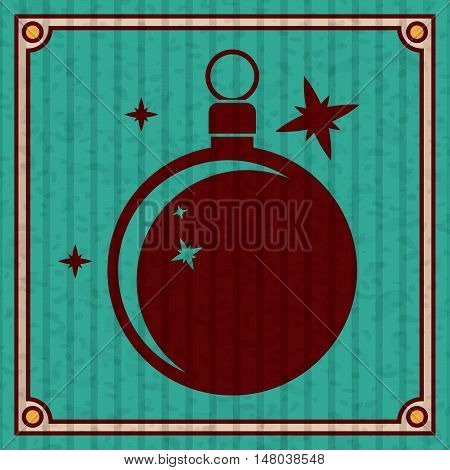 Sphere icon. Merry Christmas season and decoration theme. Colorful design. Striped frame and grunge background. Vector illustration