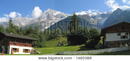 Moutain House In The Chamonix Valley, Les Houches, France, The Alps, Panorama