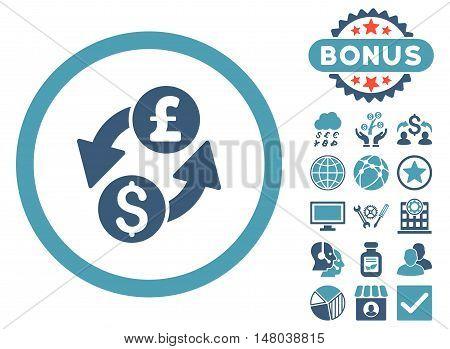 Dollar Pound Exchange icon with bonus symbols. Vector illustration style is flat iconic bicolor symbols, cyan and blue colors, white background.